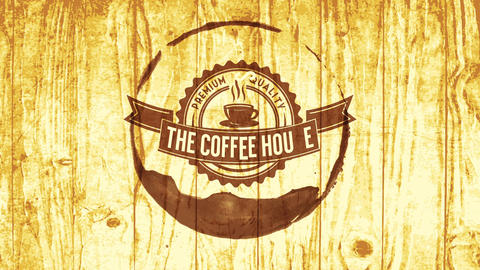 coffee cup sign with drink stain surrounding modern lettering over wood surface for lifestyle Animation