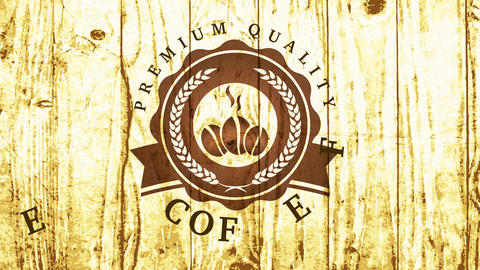 premium quality coffee cafe shop sign with beans and wheat elements in rounded insignia over wood Animation