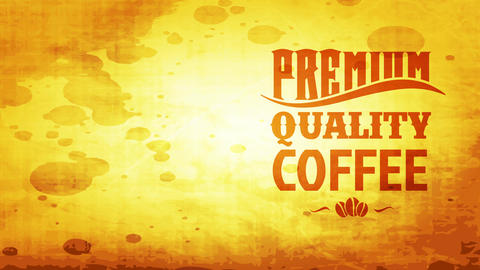 tan roasted quality coffee grains package with aged makeup fancy offset on smudged cardboard scene Animation