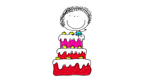 happy little birthday girl celebrating on her party from the top of a 3 story cake with raspberry Animation