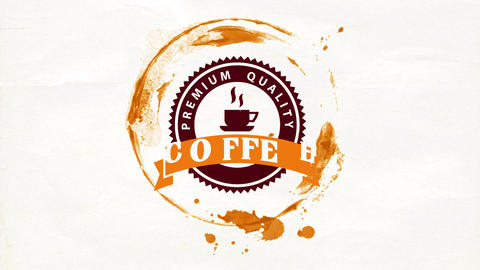 original placemat theme for coffee shop or restaurant with rounded emblem inside cup stain on paper Animation