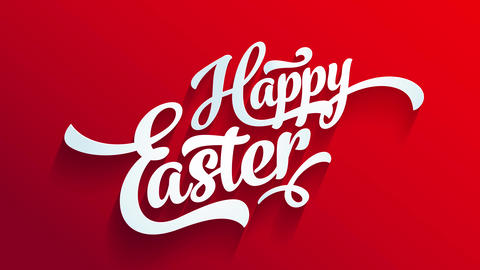 red happy easter greeting card for egg hunt party with calligraphy elements with 3d effect on Animation