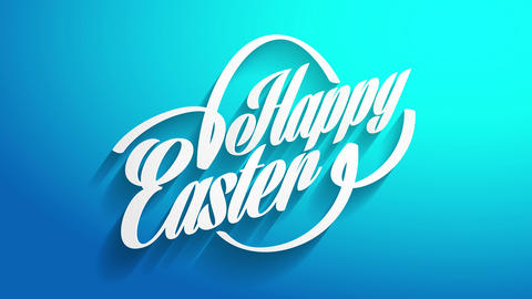 personalized happy easter calligraphy card cover with 3d text and egg outline over brilliant blue Animation
