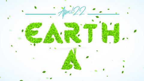 april 22 earth day sign to motivate teamwork towards reduce plastic use reuse and recycling for Animation