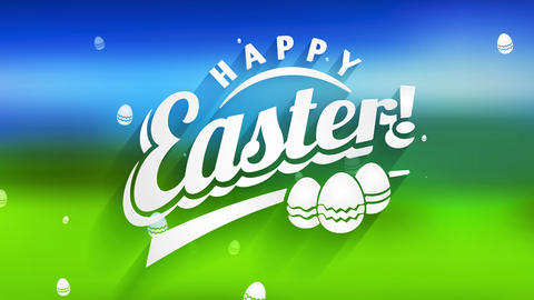 joyful easter holiday card with white 3d lettering and three decorated toy embryo over green and Animation