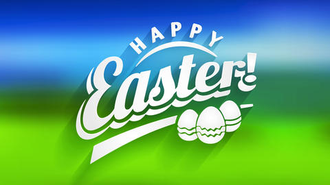 happy easter holiday card with white 3d lettering and three decorated toy eggs over green and blue Animation