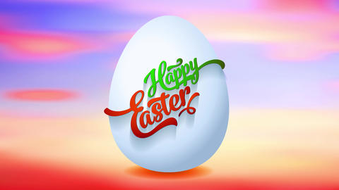 spring afternoon colors background holds happy easter egg with 3d form covered with cursive red and Animation
