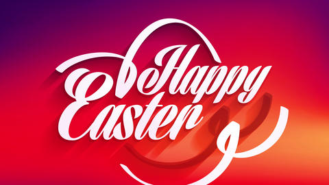 happy easter sign pattern for postcard or gift wrapping paper with white calligraphy over color Animation