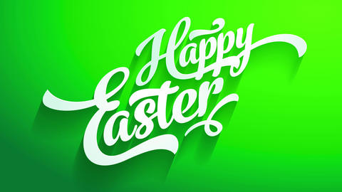 happy easter greeting card front with white 3d calligraphy creating shadows on green croma like Animation