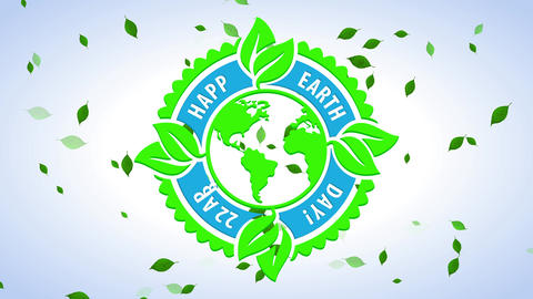 joyful earth day festivity mark for natural resources saving and renewable energy creation for Animation