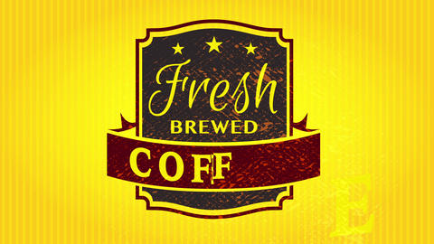 fresh brewed coffee wrapping pattern with old fashioned emblem on striking electric yellow paper Animation