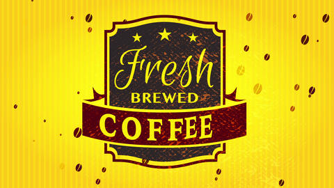 fresh brewed coffee wrapping template with aged refined insignia on outstanding electric yellow Animation