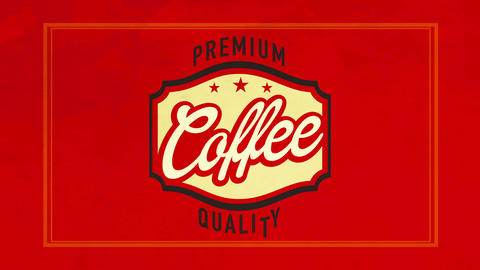 premium quality coffee sign on red velvety background using vintage calligraphy for cafe or Animation