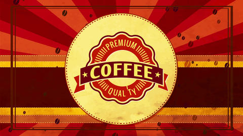 wavy border emblem for high quality coffee or tea beverage with retro elements on 70s fancy sunshine Animation