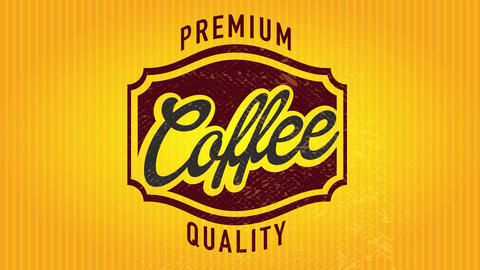 50s style premium quality coffee signboard presentation with elegant central figure over glossy Animation