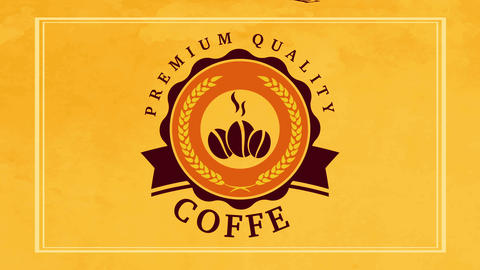 vivid package presentation for premium quality coffee with classic round graphic over yellow Animation