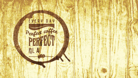 wet mug coffee spot smeared on wooden texture background for cafe bar famous for espresso drinks Animation
