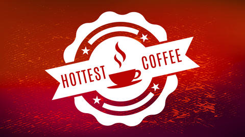 hottest coffee old school rounded graphic on red shiny texture background for toffee candy or brew Animation