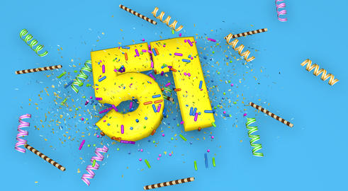 Number 51 for birthday, anniversary or promotion, in thick yello Fotografía