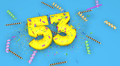 Number 53 for birthday, anniversary or promotion, in thick yello Fotografía