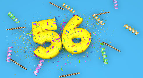 Number 56 for birthday, anniversary or promotion, in thick yello Fotografía