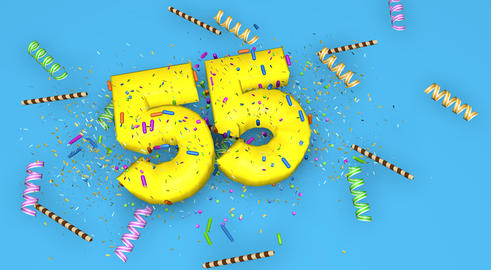 Number 55 for birthday, anniversary or promotion, in thick yello Fotografía