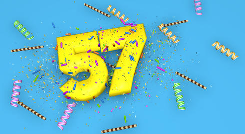 Number 57 for birthday, anniversary or promotion, in thick yello Fotografía