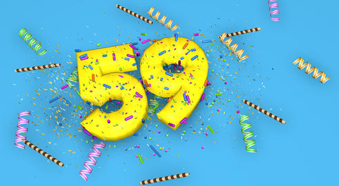 Number 59 for birthday, anniversary or promotion, in thick yello Fotografía