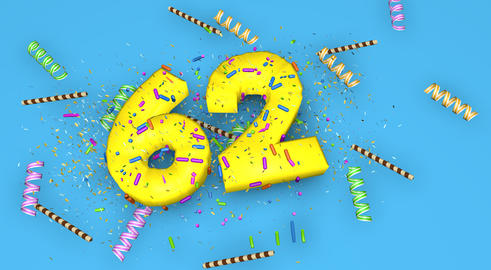 Number 62 for birthday, anniversary or promotion, in thick yello Fotografía