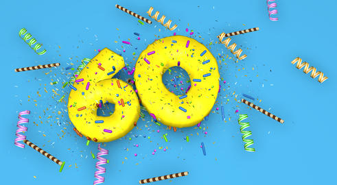 Number 60 for birthday, anniversary or promotion, in thick yello Fotografía