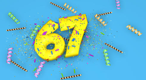 Number 67 for birthday, anniversary or promotion, in thick yello Fotografía