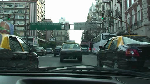 Taxi in Buenos Aires late afternoon busy street in Buenos... Stock Video Footage