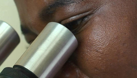 A technician examines a specimen through a microscope Stock Video Footage