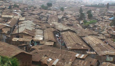 Houses densely crowded in a slum Stock Video Footage