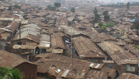 Houses densely crowded in a slum Footage