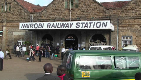 Crowded Nairobi railway station Stock Video Footage