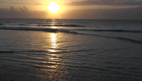 Oceanic shoreline at sunset Footage
