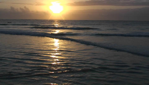 Oceanic shoreline at sunset Stock Video Footage