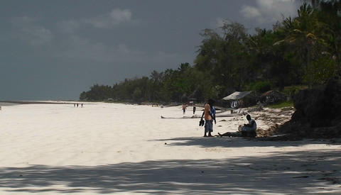 People walking along a seashore Stock Video Footage