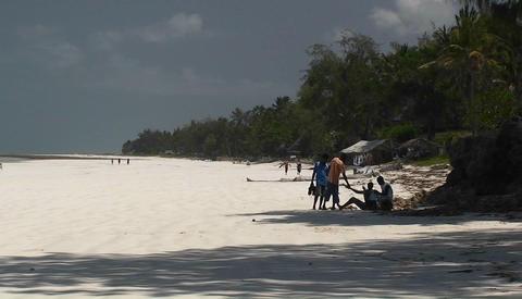 People walking along a seashore Footage