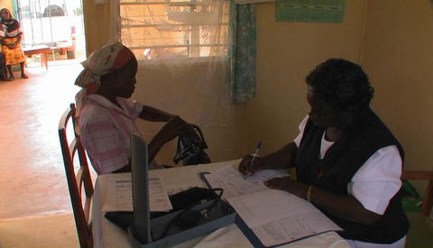 A woman receives medication and consultation from medical... Stock Video Footage