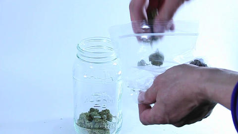 A person takes marijuana out of a plastic bag and puts it into a glass container Footage