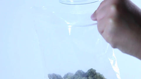 A person empties a jar of marijuana into a plastic bag Stock Video Footage