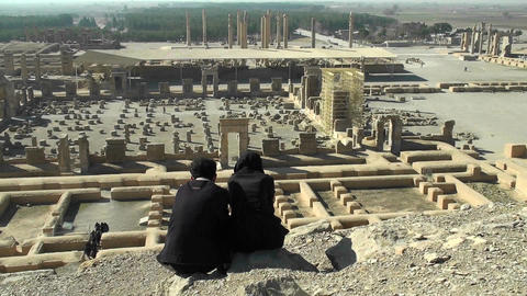 Ruins of the ancient city of Persepolis in Iran Footage