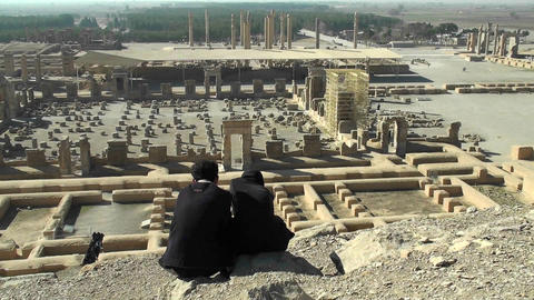 Ruins of the ancient city of Persepolis in Iran Stock Video Footage