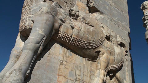 A bas relief carved in stone in the ruins of the ancient city of Persepolis in Iran Footage