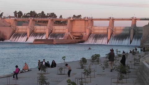 A hydroelectric dam in Iran Stock Video Footage