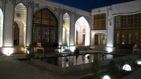 Interior of a building displaying traditional Islamic architecture Footage