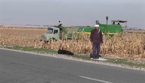 A tractor plows a field in Iran Footage