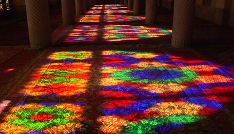 Sun shines through stained glass windows inside the Nasir... Stock Video Footage